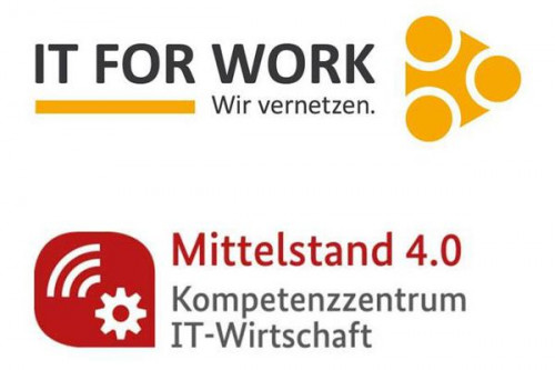 Logo IT FOR WORK, Logo Kompetenzzentrum IT-Wirtschaft